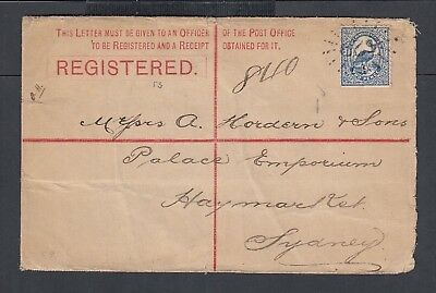 Nsw Australia 1895 Registered Ps Cover #629 Numeral To Haymarket Sydney
