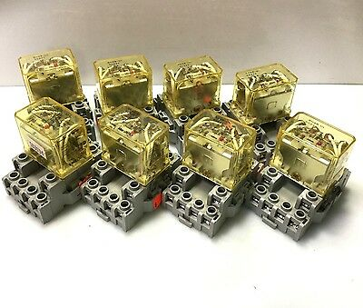 Lot of 8-IDEC RH4B-UL Control Relay Contact Coil: 24VDC 10A 4PDT w/Base SH4B-05C