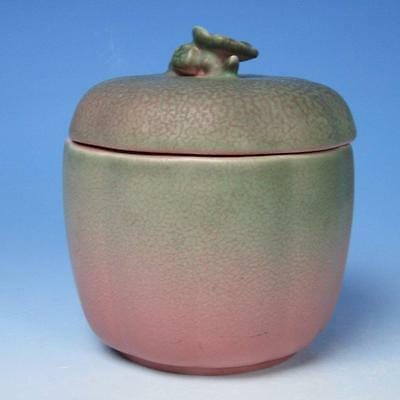 Rookwood Art Pottery XXV  - 2761 Covered Apple Jar - Finial to be restored