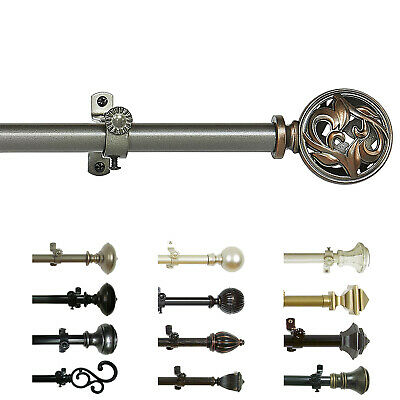 Curtain Rod Decorative Telescopic Cafe Window Drapery Rods Set w/ Modern Finials