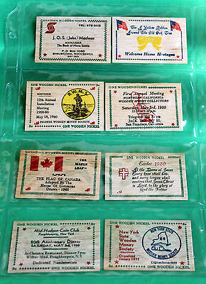 Lot of 8 Colorful Wooden Nickel Flats Advertising 1965-1980 Excellent #R