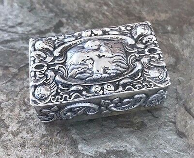 Antique Repousse Angel Pill Trinket Box Sterling Silver 925