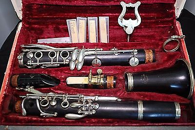 WOOD CLARINET MADE PARIS FRANCE SERIAL # H11533 Henri SELMER MOUTHPIECE + MORE