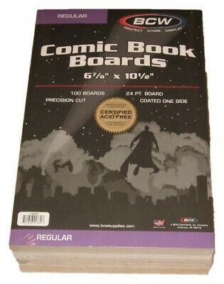 Pack of 100 BCW Regular Comic Book Acid Free Backer Boards 6 7/8 x10 1/2 backing
