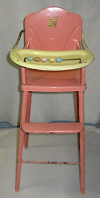 VTG Doll-E HiChair Amsco 1950s Metal Toy Pink Decals Beads High Chair