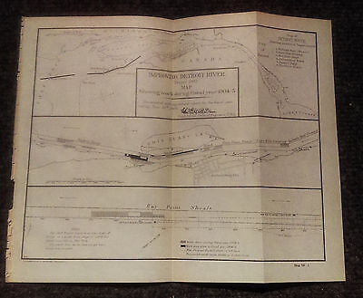 1905 Improving the Detroit River Michigan Map