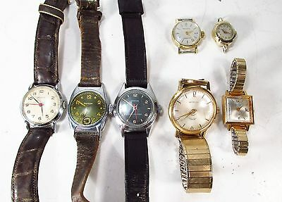 Vintage Lot 7 All Westclox Brand Made USA Mechanical Windup Wristwatches As-Is