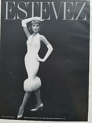 1957 Betty Estevez photo women's white dress gloves fur trim vintage fashion ad