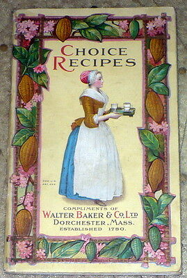 Walter Baker Chocolate Recipes Booklet / Embossed 1916 Ww I Cook Book
