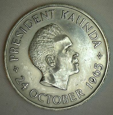 1965 Zambia 5 Shillings KM#4 Copper-nickel YG Anniversary of Independence #R
