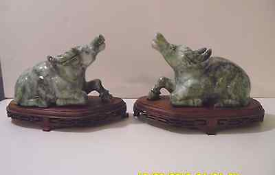 """Antique Asian Carved Green Stone Jade Marble Water Buffalo Pair 6""""x4"""" Wood Bases"""