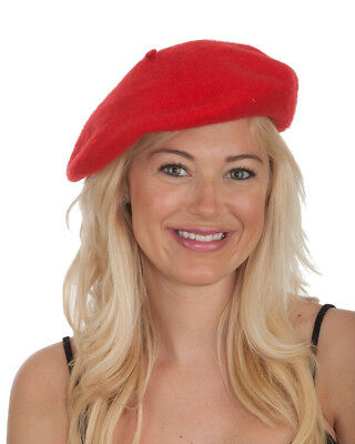 New Men's Women's Red Wool Beret Hat Cap Costume Accessory