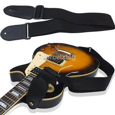 Adjustable Nylon Strap Belt Leather Ends for Electric Acoustic Guitar Bass Black