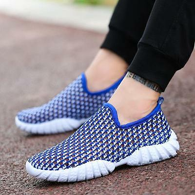 Mens Breathable Mesh Loafers Flat Sports Shoes Running Trainers Sneakers HOT LG