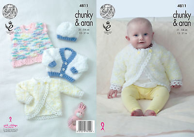 Baby Knitting Pattern Cardigans Dress & Hat King Cole Chunky with Aran 4811