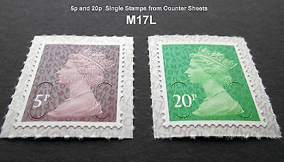 NEW MAY 2017 M17L 5p and 20p Machin SINGLE STAMPS from Counter Sheets