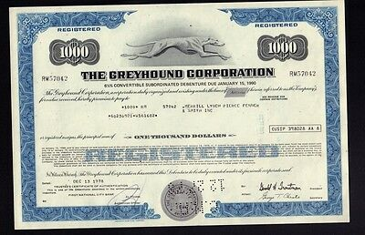 The Greyhound Corporation old bond certificate issued to Merrill Lynch 1978