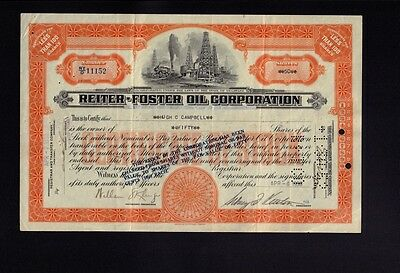 REITER FOSTER OIL CORP  iss to Hugh Campbell 1938  Refinery & Locomotive vign.