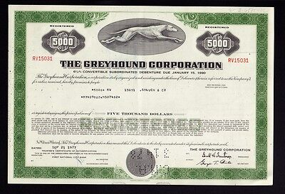 The Greyhound Corporation old bond certificate issued to Steven & Co 1977