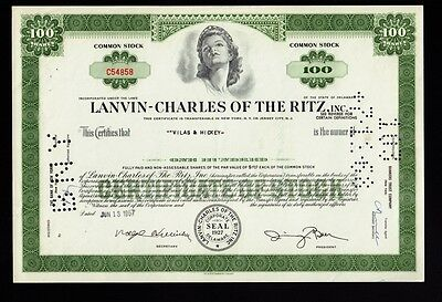 LANVIN - CHARLES OF THE RITZ Inc issued to Vilas & Hickey 1957
