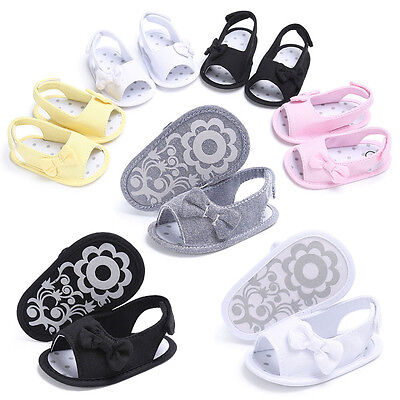 Newborn Baby Girls Toddler Bowknot Soft Crib Shoes Sandals Anti-slip Prewalker