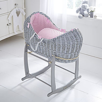 Clair De Lune Pink Dimple Grey Wicker Noah Pod Baby Moses Basket & Rocking Stand