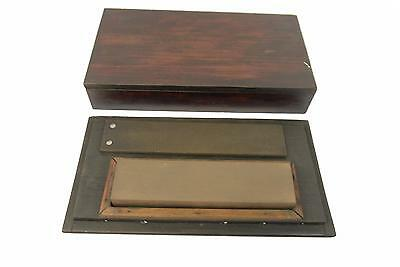 Vintage Sharpening Stone / Honing Stone - With Leather Strop - In Rosewood Box