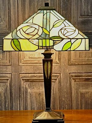 Large Tiffany Table Lamp Square shade Hand Made Traditional Glass