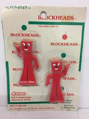 """Blockheads 2.75"""" Red PVC Plastic Rubber Gumby Action Figures Prema Toy Co. Jesco"""