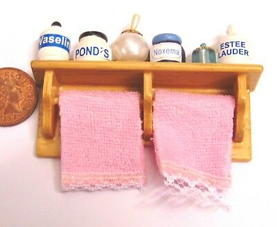 1:12 Scale Two Towels On A Rail With Accessories Dolls House Miniature Bathroom