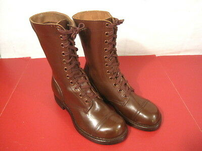 """WWII US Army Paratrooper Leather """"Cochran Style"""" Jump Boots - Size 8 - Excellent"""