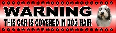 "BEARDED COLLIE ""WARNING CAR COVERED IN DOG HAIR"" Car Sticker By Starprint"