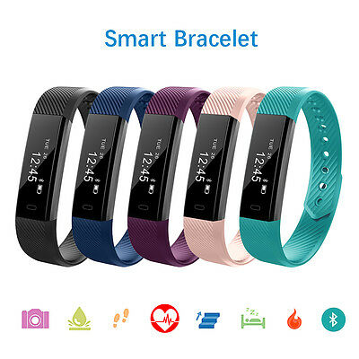 Smart Wristband Heart Rate Bracelet Watch Bluetooth SMS Fitness Activity Tracker