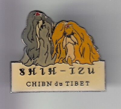 Rare Pins Pin's .. Animal Chien Dog Compagnie Race Shih Tzu Tibet Couple 3D ~Df