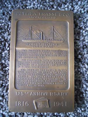 Peter A. Frasse & Co 125Th Anniversary Brass Plaque 1941 Robert Fulton Clermont