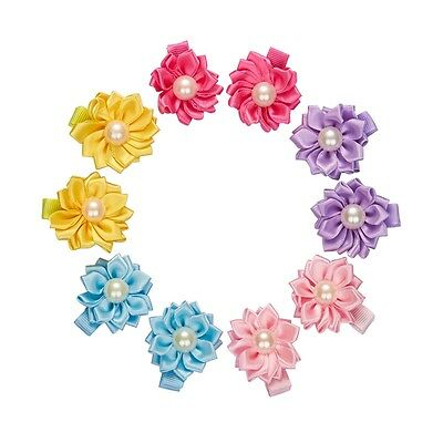 10pcs Cute Baby Toddler kid Girl Small Flower Hair Clips Ribbon Hair Accessories