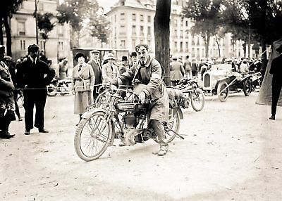 VINTAGE MOTOR CYCLE SCENE . RIDER ON PRE WAR NORTON MOTOR CYCLE c 1920's
