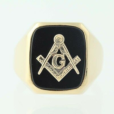 Master Mason Blue Lodge Ring - 10k Yellow Gold Onyx Masonic