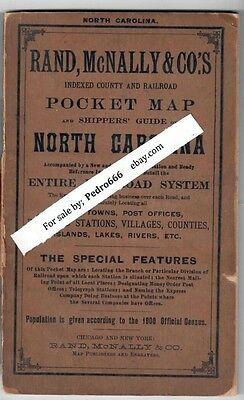 1901 North Carolina Rand McNally Indexed Pocket Map Shippers Guide Railway USPS