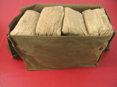 WWII Era US Army Medical Corps Canvas Field Medic Bag for Large Bandages - RARE