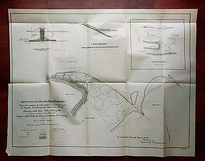1899 Map of Columbia River Vancouver WA Bayden Island Dike and Revetment