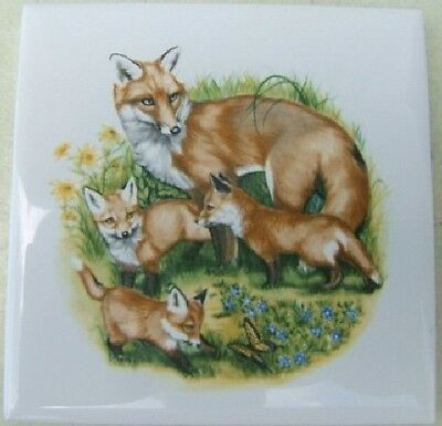 Ceramic Tile Fox Family Looking Back Wildlife #2