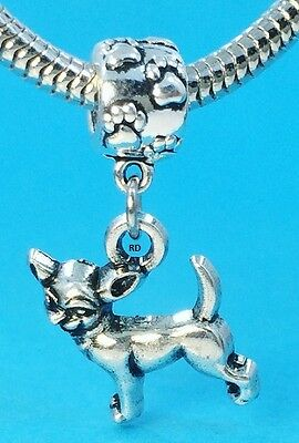Adorable Chihuahua Dog Breed Charm on Paw Print Slider for Bracelet OR Necklace