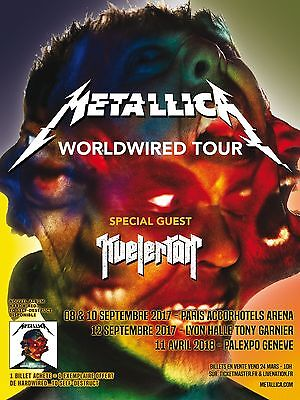 "METALLICA / KVELERTAK ""WORLDWIRED TOUR"" 2017 FRANCE CONCERT POSTER - Heavy Metal"