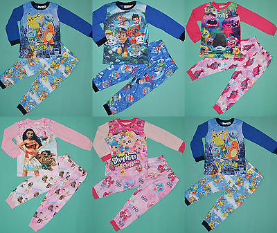 Boy & Girl Shopskins Paw Patrol Moana Trolls Winter Pyjamas pjs Size 2,3,4,5,6,7