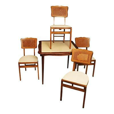 Vintage STAKMORE FOLDING CARD TABLE & 4 CHAIRS Set antique dinette mid century