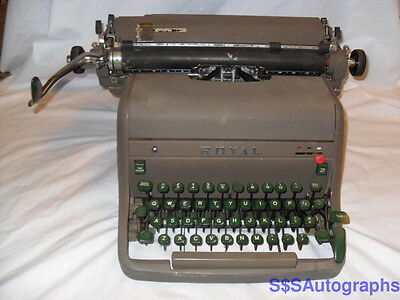 Rare Early Vintage Antique 1954 Royal Hh Model Professional Green Typewriter