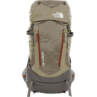 North Face Terra 50 Mens Rucksack Hiking - Falcon Brown Sequoia Red All Sizes