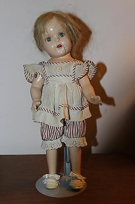 """1930's Madam Alexander Composition Doll 15"""" 4 Teeth Showing Glass Eyes Marked X"""