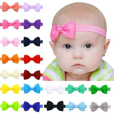 20pcs Elastic Baby Headdress Kids Hair Band Girls Bow Newborn Toddler Headband
